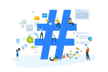 Flat design concept of online communication, social network, internet marketing, hashtag, campaigns, advertising.
