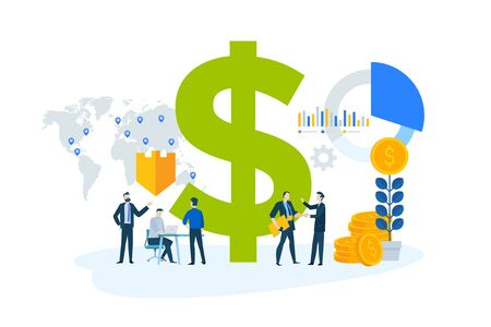 Flat design concept of global investment, market trends, economic analysis, banking, insurance.
