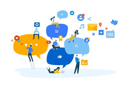 Flat design concept of networking, online communication, internet community. Ilustracja