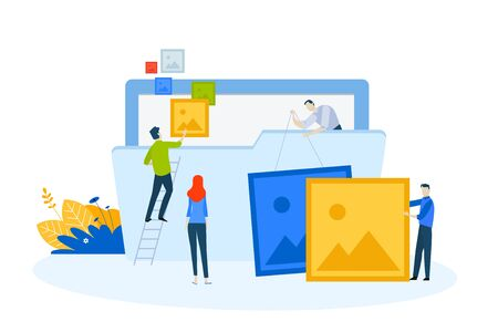 Flat design concept of gallery, portfolio, projects.