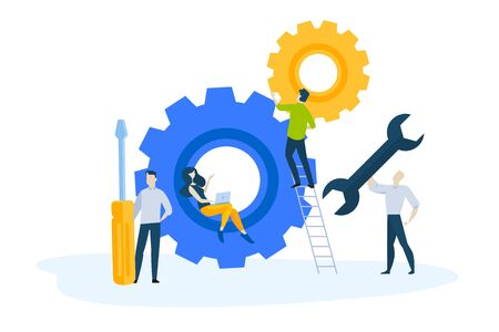 Flat design concept of service and maintenance. Vector illustration for website banner, marketing material, business presentation, online advertising.