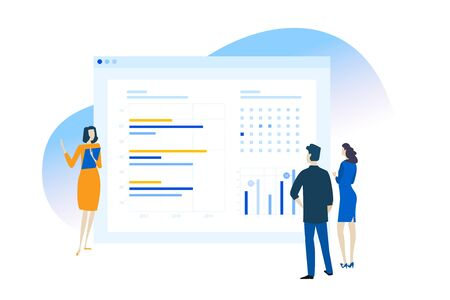 Flat design concept of business app, data analysis, CRM.