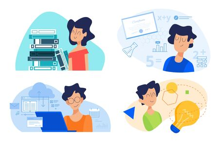 Flat design concept of school, knowledge and creativity, distance education, university.
