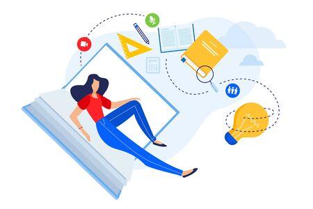 Flat design concept of education, know how, university, skill development. Ilustracja