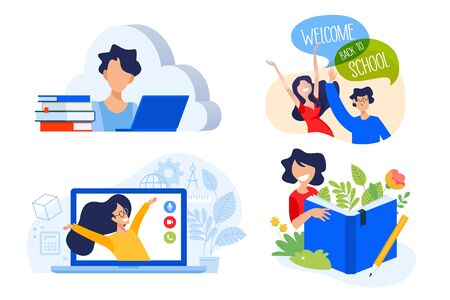 Flat design concept of cloud education and apps, books, back to school.