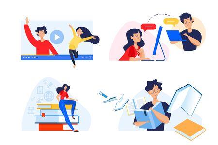 Flat design concept of video tutorials, e-book, e-learning, virtual classroom. Ilustracja
