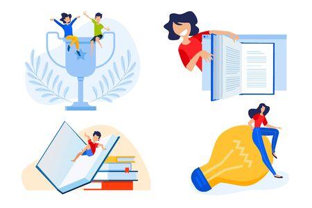 Flat design concept of e-book, education success, knowledge.