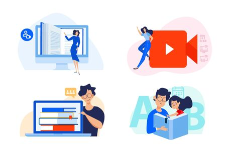 Flat design concept of distance education, video tutorials, e-learning and online class.