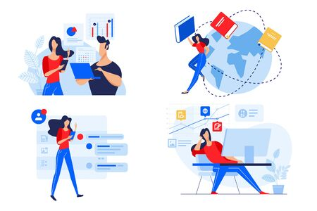 Flat design concept of staff education, training and courses, online education. Ilustracja