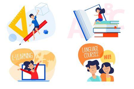 Flat design concept of education, e-learning, language school.