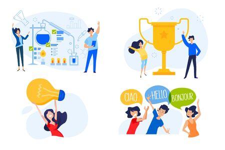 Flat design concept of university, science, key to success, great idea, language course. Ilustracja