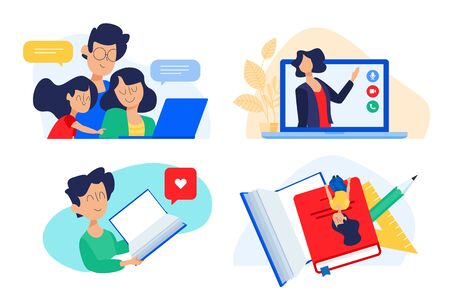 Flat design concept of family education, online teaching, learning.