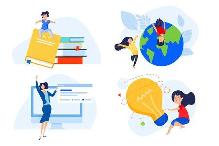 Flat design concept of distance school and education, knowledge and creativity.