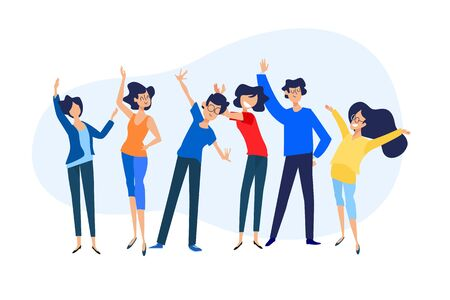 Flat design concept of our team, about us, community, management.  イラスト・ベクター素材
