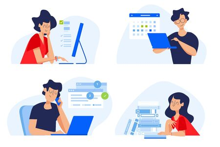 Flat design concept of distance education, online courses, e-learning, tutorials, apps. Ilustracja