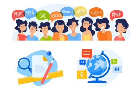 Flat design concept of language school, online education.