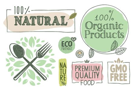 Organic food, farm fresh and natural products labels and badges collection.