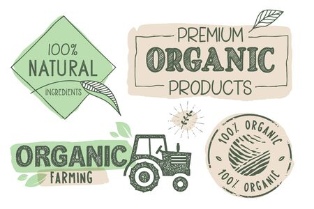 Organic food, farm fresh and natural products labels and stickers collection