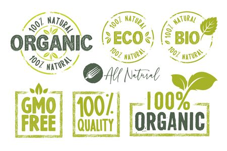 Organic food, farm fresh and natural products stickers and badges collection.