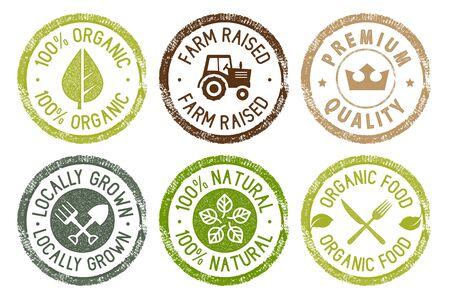 Colección de pegatinas de alimentos orgánicos, productos frescos y naturales de granja. Ilustración de vector