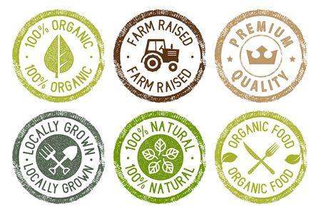 Collection d'autocollants d'aliments biologiques, de produits frais et naturels de la ferme. Vecteurs