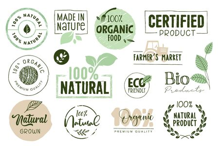 Organic food, farm fresh and natural products labels and elements collection.