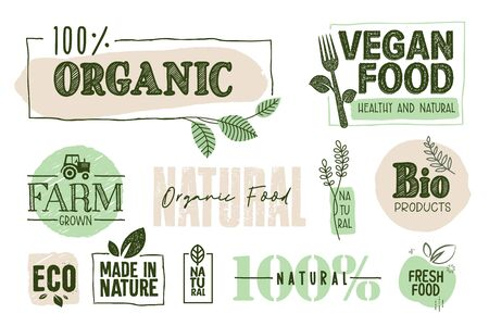 Organic food, farm fresh and natural products signs and elements collection.