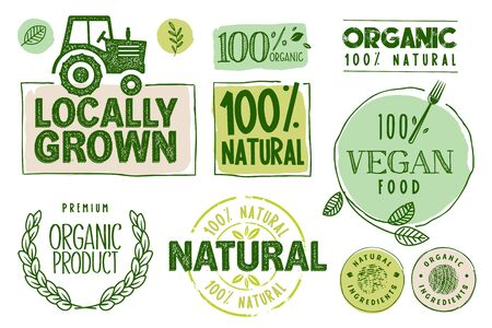 Organic food, farm fresh and natural products stickers and labels collection.