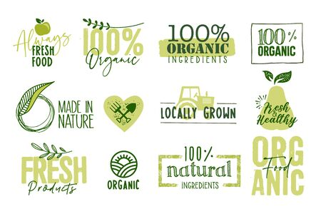 Organic food, farm fresh and natural products signs and labels collection.