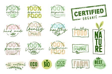 Organic food, farm fresh and natural products signs collection. Stock Illustratie