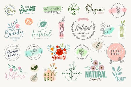 Set of badges and elements for beauty, natural and organic products, cosmetics, spa and wellness.