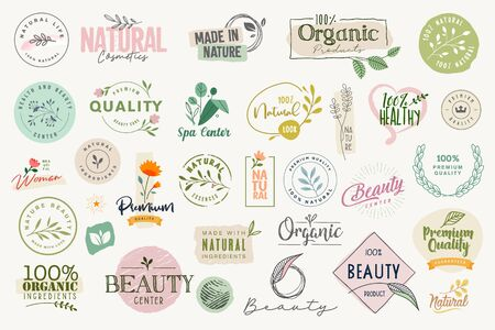 Set of signs and elements for beauty, natural and organic products, cosmetics, spa and wellness.  イラスト・ベクター素材