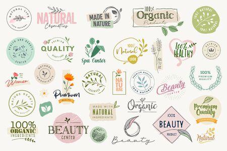 Zeichensatz und Elemente für Schönheit, Natur- und Bioprodukte, Kosmetik, Spa und Wellness.