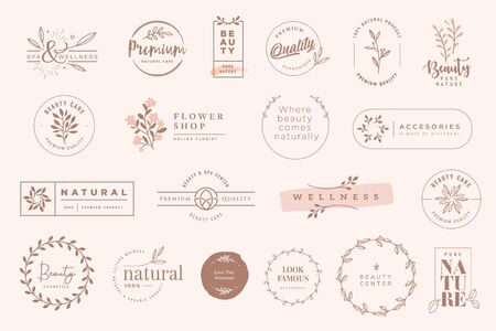 Set of vintage labels and badges for beauty, natural and organic products, cosmetics, spa and wellness, fashion.  イラスト・ベクター素材