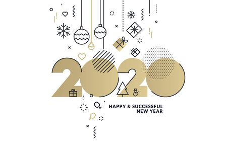 Happy New Year 2020 business greeting card.