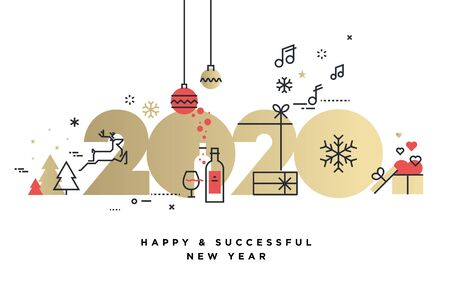 Business Happy New Year 2020 greeting card.