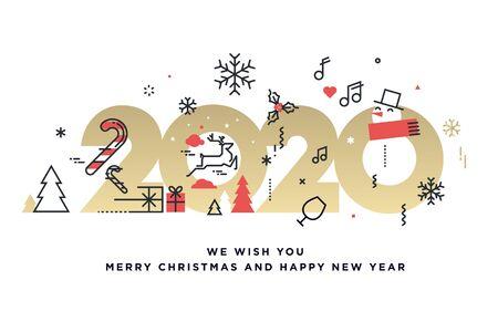 Feliz navidad y próspero año nuevo 2020. Ilustración de vector