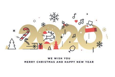Merry Christmas and Happy New Year 2020. Stock fotó - 134886927
