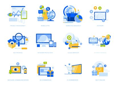 Flat design concept icons collection. Vector illustrations for project management, mobile apps and services, social network, cloud services, e-commerce and m-commerce, internet security, e-banking, seo. Icons for graphic and web designs, marketing material and business presentations. Ilustracje wektorowe