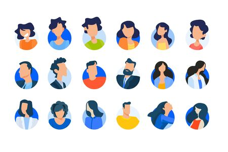 Flat design concept icons collection. Vector illustrations of modern people avatars. Icons for graphic and web designs, marketing material and business presentations, social media, user account. 向量圖像