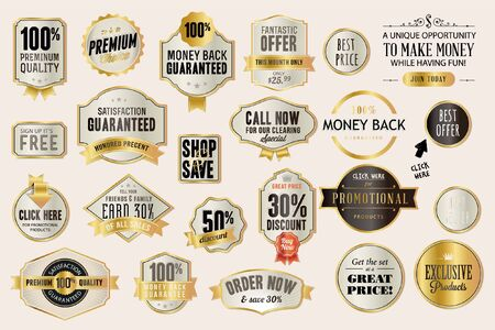 Set of luxury labels and badges for sale. Vector illustrations for graphic and web design, marketing material, product promotion, social media and online shopping. Ilustración de vector