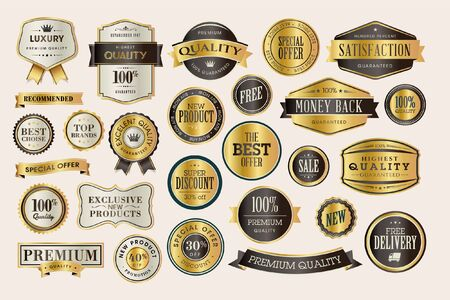 Set of luxury labels and stickers for sale. Vector illustrations for graphic and web design, marketing material, product promotion, social media and online shopping.