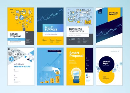 Set of brochure, annual report, business plan cover design templates. Vector illustrations for business presentation, business paper, corporate document, flyer and marketing material. Vectores