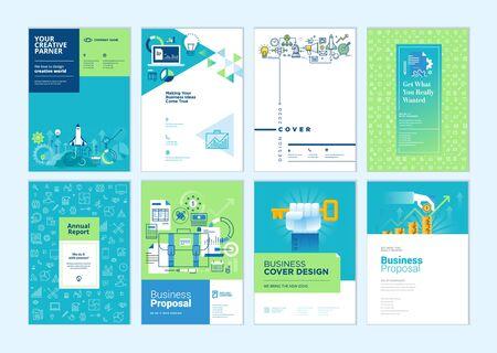 Satz von Broschüren, Jahresbericht, Businessplan-Cover-Design-Vorlagen. Vektorgrafiken für Geschäftspräsentationen, Geschäftspapiere, Unternehmensdokumente, Flyer und Marketingmaterial.