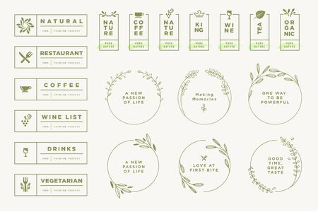 Set of labels and badges for food and drink.
