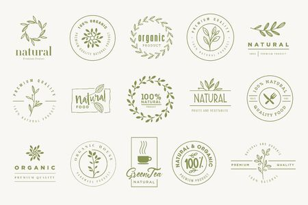 Set of signs for organic and natural products. Vectores