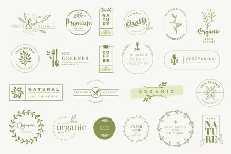 Set of labels and stickers for organic and natural products.