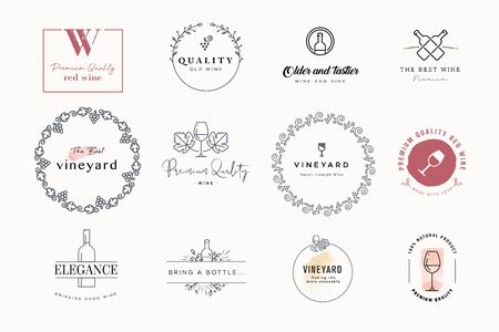 Set of labels and stickers for wine. Vector illustrations for graphic and web design, marketing material, restaurant menu, wine list, products presentation, packaging design. Vectores