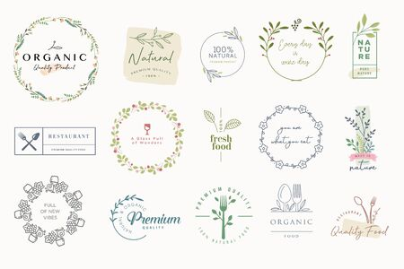 Set of labels and badges for organic and natural products.