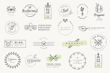 Set of stickers and labels for food and drink. Vectores